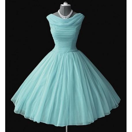 Retro dress, light blue, made of chiff