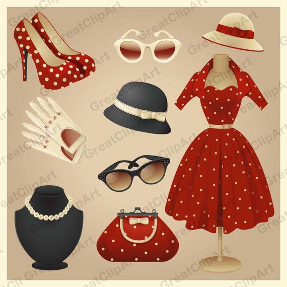 9 Vintage Retro Fashion clipart fashion look elements retro | Et