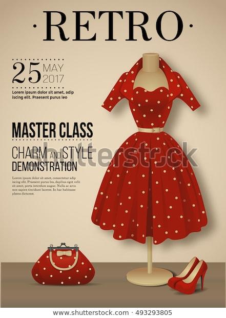 Retro Fashion Poster Polka Dot Dress Stock Vector (Royalty Free .