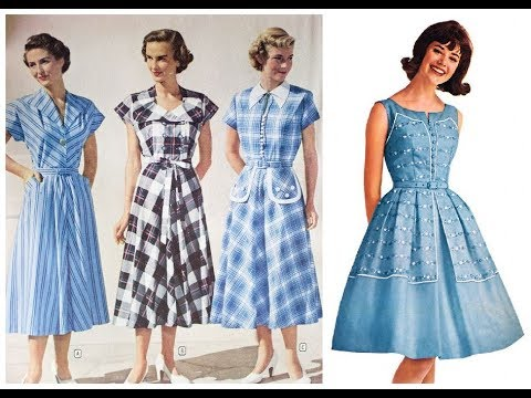 Retro Fashion Trend=Vintage Style Dress Pattern Design Ideas 2019 .