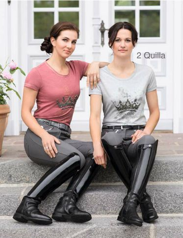Girls in riding breeches and shiny black riding boots   Riding .