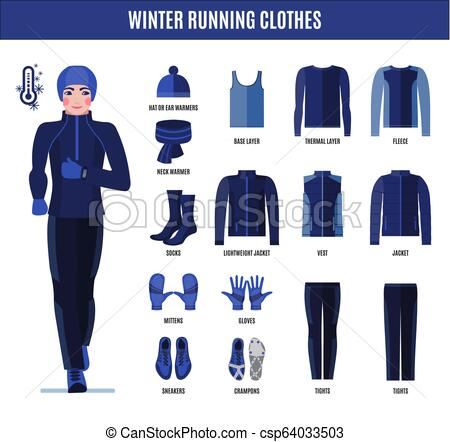 Winter running clothes set for man in flat style. Winter running .