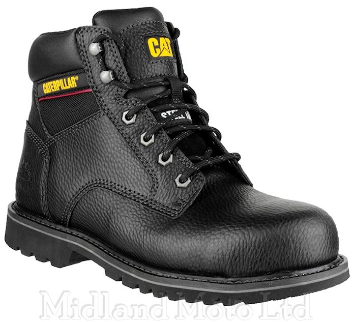 Caterpillar Safety Boots Tracker SB Steel Toe Cap Black Leather .
