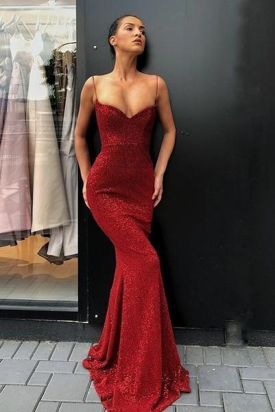 Spaghetti Straps Sexy Red Sequin Prom Dress Mermaid – loveangeldre