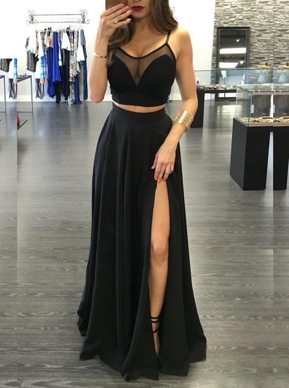 Black Prom Dresses,Two Piece Prom Dress,Sexy Prom Dress,Long Prom .