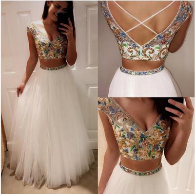 Two Pieces Prom Dresses V-neck Floor-length Tulle Sexy Prom Dress .
