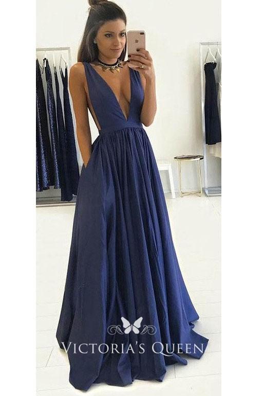 Sleeveless Plunging Navy Satin Sexy Formal Prom Dress -