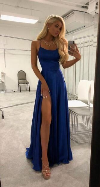 Sexy Prom Dresses, Cheap Prom Dress,Blue Split Slit Prom Dress .
