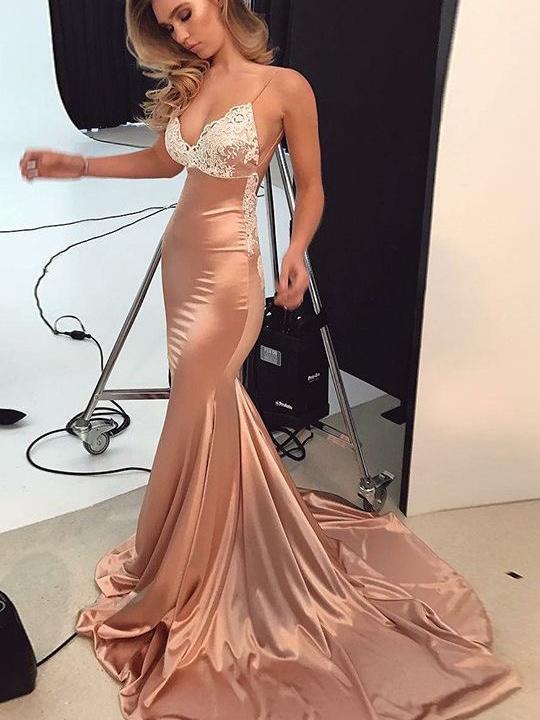 Open Back Prom Dresses Trumpet Mermaid Spaghetti Straps Long Sexy .