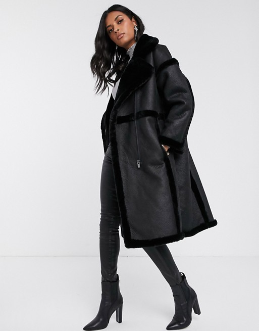 Vila longline faux fur shearling coat in black | AS