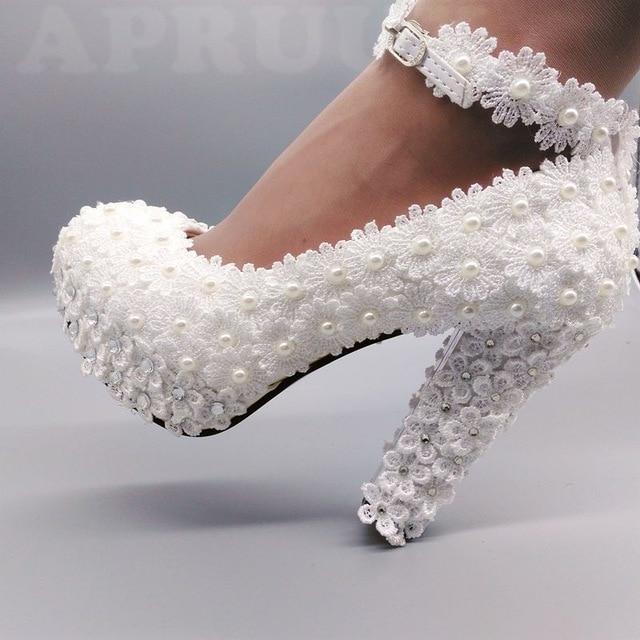 11cm super high block heels ivory lace pearls wedding shoes bride .