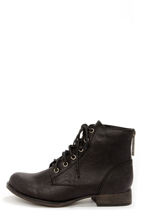 Cute Black Boots - Lace-Up Boots - Ankle Boots - Vegan Leather .