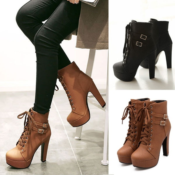 NEW Women's Fashion PU Leather Thick High Heel Short Boots Winter .