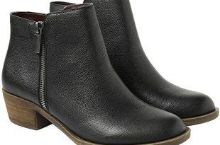 Amazon.com | kensie Women's Black Leather Ghita Short Ankle Boots .