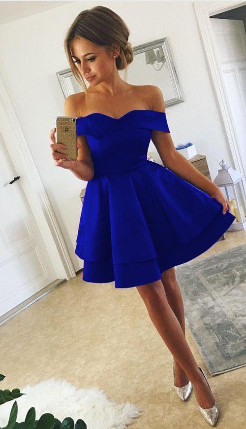 Short Satin V Neck Off-The-Shoulder Homecoming Dresses in 2020 .