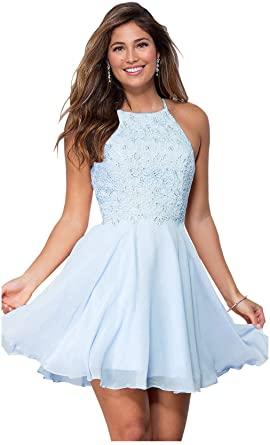 Amazon.com: Zhongde Women's Halter Open Back Formal Prom Dress .