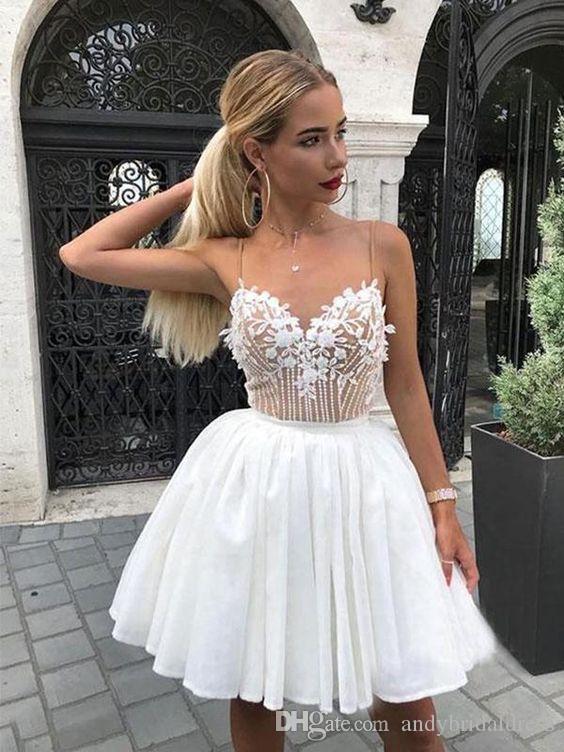 Discount Spaghetti Straps Short Wedding Dresses 2020 Petals .