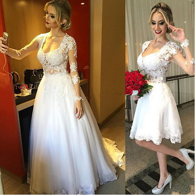 Two Dresses in One Short Wedding Dress with Detachable Skirt Lace .