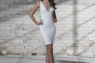 Sleeveless V-neck Short Wedding Dress   Kleinfeld Brid