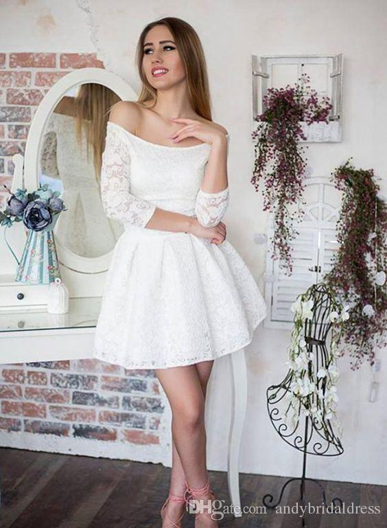 Sexy Off Shoulder Lace Short Wedding Dresses With Sleeves A Line .