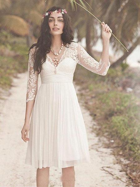 Cheap Long Sleeve Lace Short Beach Wedding Dresses, WD330 .