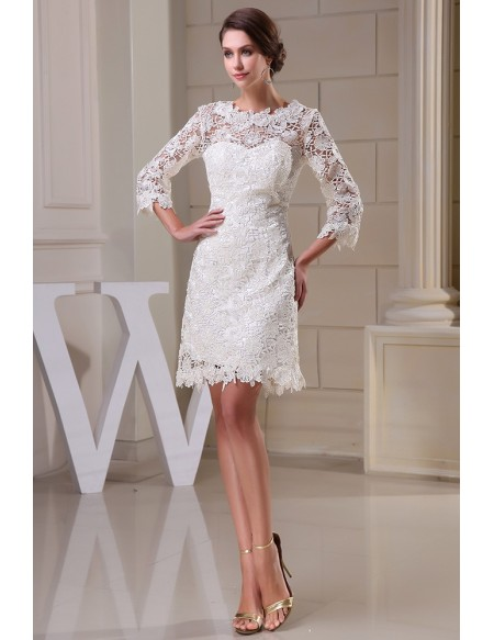 Lace Short Wedding Dresses With Sleeves for Reception A-line .