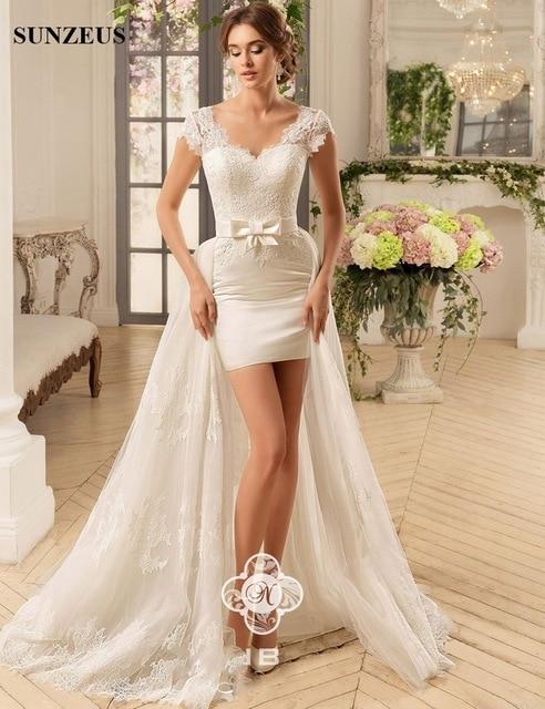 Detachable Train High Low Sexy Short Wedding Dresses Sweetheart .