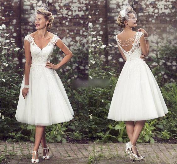 Vintage Short Wedding Dress Tea Length White by RosyProm on Zibb
