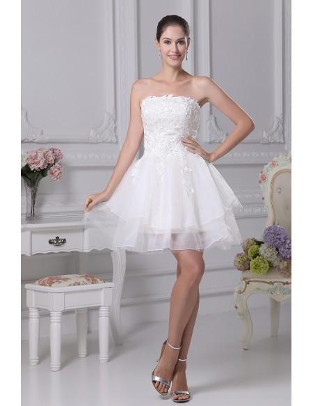 Strapless Tulle Short Wedding Dresses Tutu Lace Reception Style .