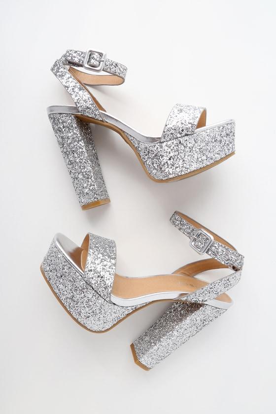 Silver Glitter Platform Heels - Platform Ankle Strap Hee