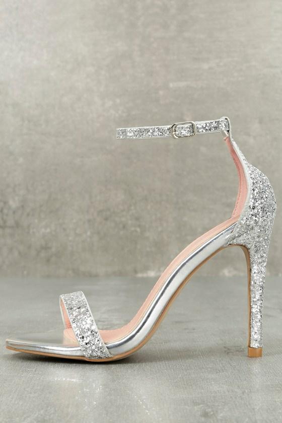 Stunning Silver Heels - Glitter Heels - Ankle Strap Hee