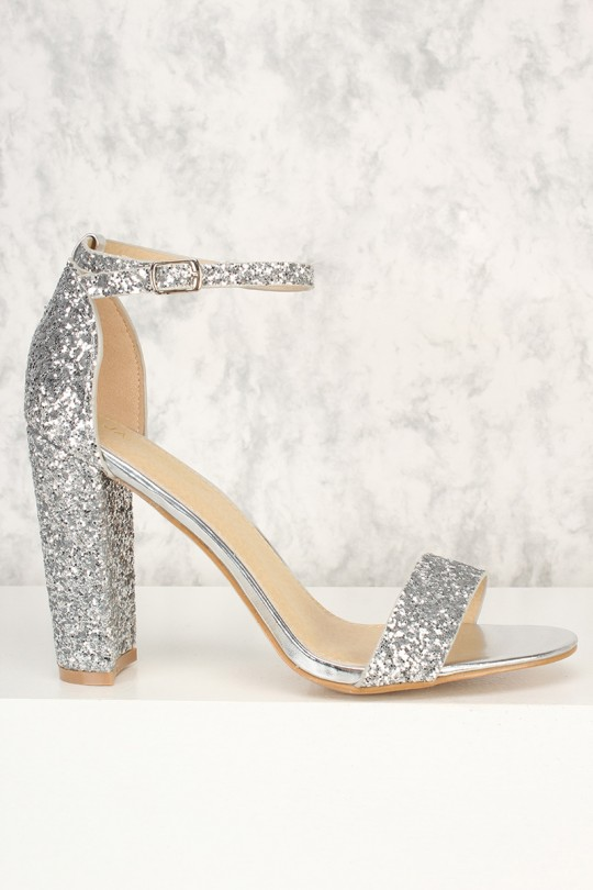 Silver Glittery Accent Open Toe Chunky High Heels Faux Leath