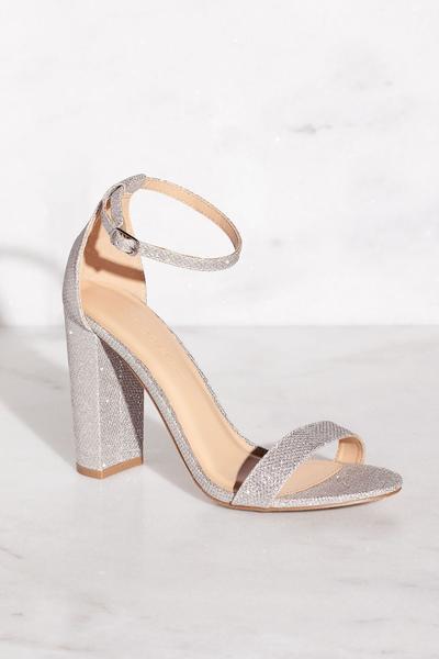 Cece Silver Glitter Heels by Pricele