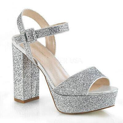"Fabulicios 5"" Block Heel Silver Glitter Platform Women Shoes Ankle ."