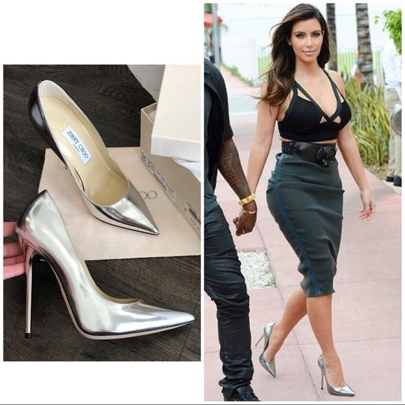 Jimmy Choo Shoes | 600 Kim Kardashian Silver Anouk Pumps | Poshma