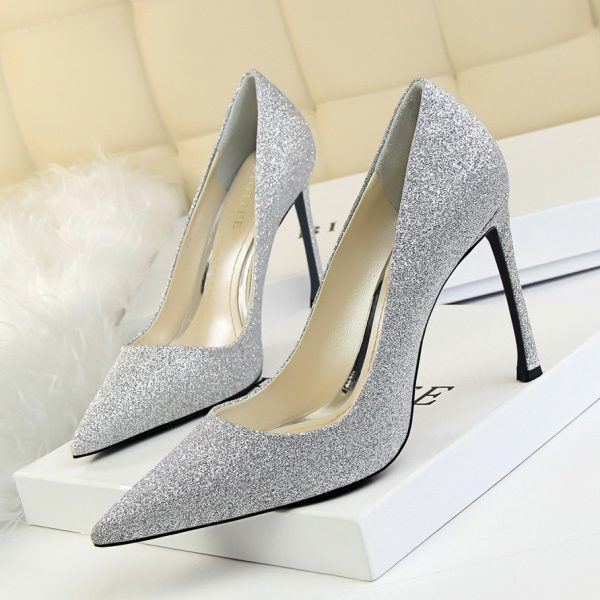 Silver Pointed Toe High Heel Pumps Womens Shoes - Heels