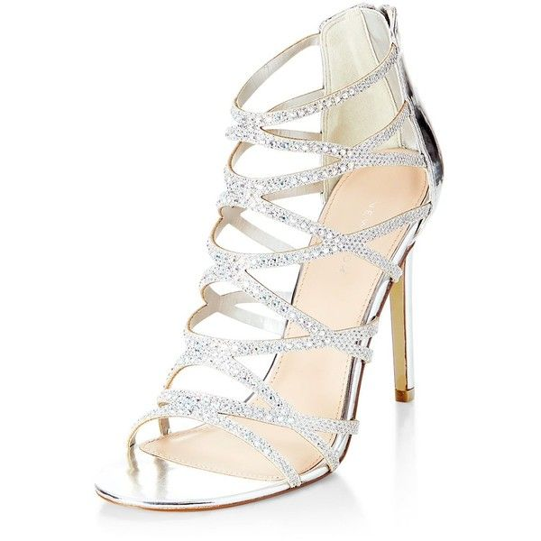 Silver Diamante Cross Strap High Heels ($50) ❤ liked on Polyvore .