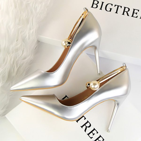 Silver Pearl Ankle Strap High Heel Pumps Shoes - Heels