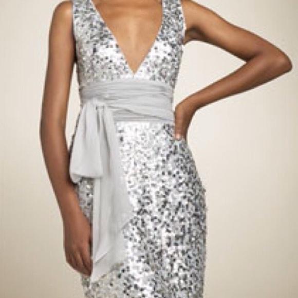 BCBGMaxAzria Dresses   Bcbg Max Azria Silver Sequin Dress   Poshma