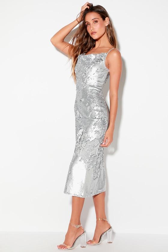 Keepsake No Signs - Silver Sequin Dress - Sequin Midi Dre