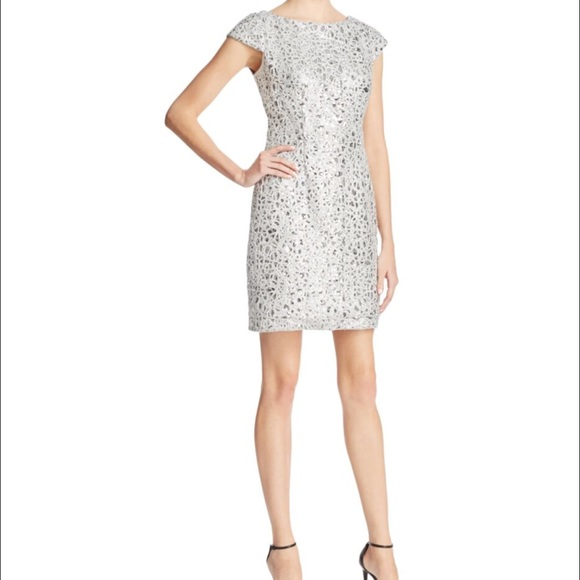 Adrianna Papell Dresses   Silver Sequin Dress Size12   Poshma