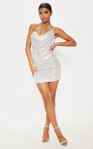 Tarria Silver Sequin Chain Choker Mini Dress   PrettyLittleThing U