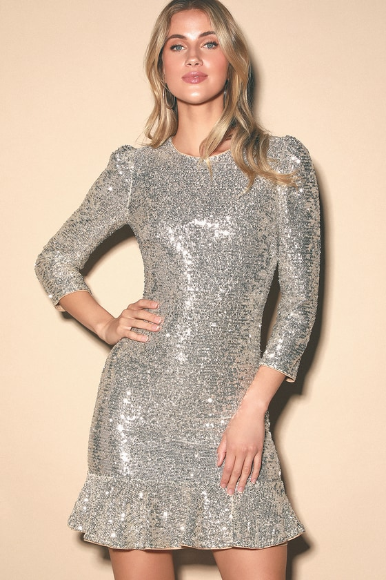 Ali & Jay Sparkle and Shine - Silver Sequin Dress - Ruffled Dre