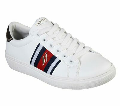 Skechers Shoes Women White Red Memory Foam Comfort Casual Lace Up .