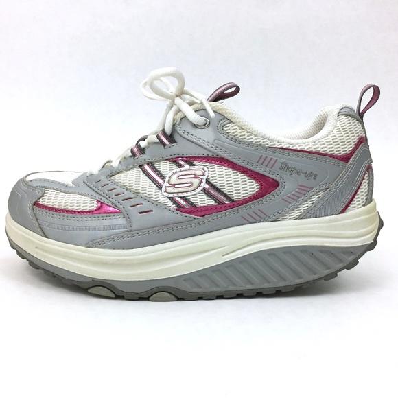 Skechers Shoes | Womens Shape Ups Grey And Pink 85 | Poshma