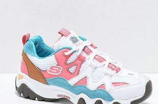 Skechers x One Piece D'Lites 2 White, Pink and Blue Shoes | Zumi