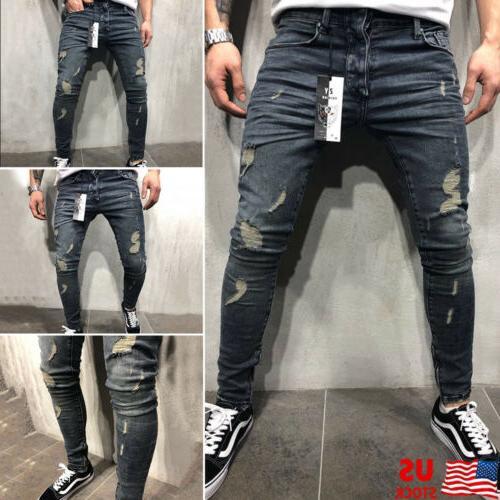 Mens Ripped Skinny Jeans Distressed Frayed Biker Sl