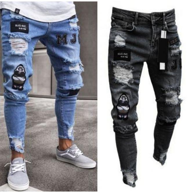 Men's Stretchy Ripped Skinny Jeans Destroyed Denim | RebelsMark