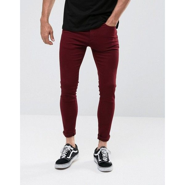 11 Degrees Muscle Fit Jeans In Burgundy (200 BRL) ❤ liked on .