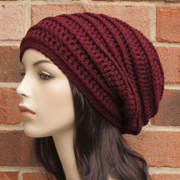 Crochet Slouchy Hat - Wine Red Slouchy Beanie - Womens Ribbed .